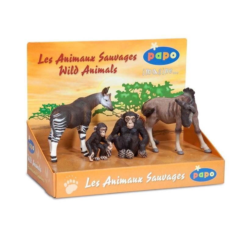 Set figurine Papo-Cutie animale salbatice (Okapi,cimpanzeu,pui cimpanzeu,gnu)