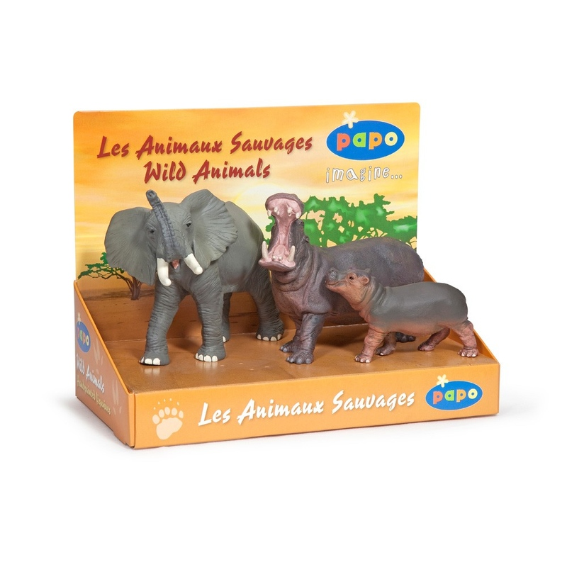 Set figurine Papo-Cutie animale salbatice (elefant,hipopotam,hipopotam pui)