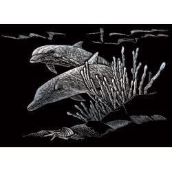 Set gravura pe folie argintie mica Delfini importator