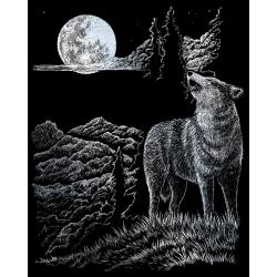 Set gravura pe folie argintie Lupul si luna importator