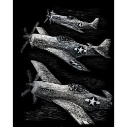 Set gravura pe folie argintie Avioane de lupta importator