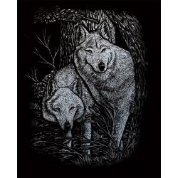 Set gravura pe folie argintie Lupi in duet importator