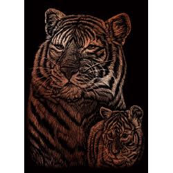 Set gravura pe folie aramie mica Tigru si pui