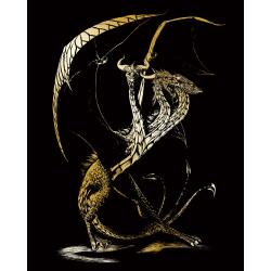 Set gravura pe folie aurie Dragonul cu 3 capete