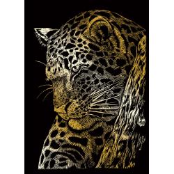 Set gravura pe folie aurie mica Leopard