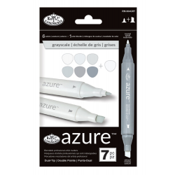 Set 7 markere Royal Langnickel Azure  Dual Culori nuante gri peisagistica