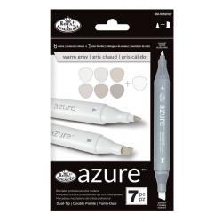 Set 7 markere Royal & Langnickel Azure DUAL Culori gri cald PROIECTARE