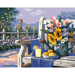 Pictura pe numere master Floare soarelui si lamai