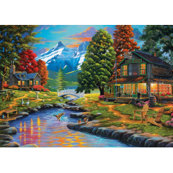Puzzle 2000 piese - Two Shores A Forest pentru intreaga familie