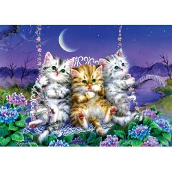 Puzzle 500 piese - Moonlight Swing Kittens-Kayomi Harai pentru iubitorii de pisici