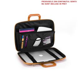 Geanta lux business laptop 13 Bombata Medio Cocco-Galben interior