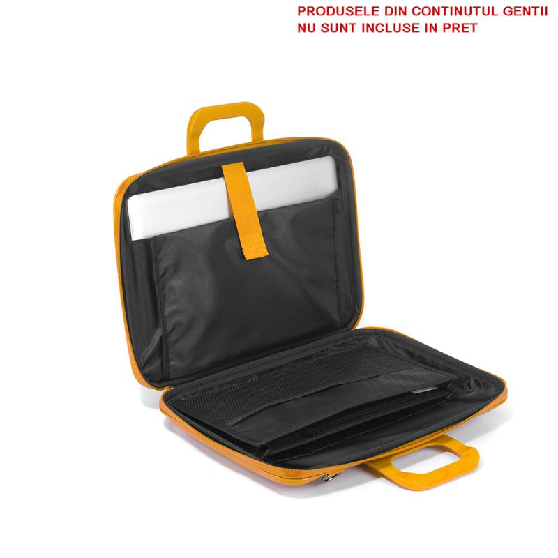 Geanta lux business laptop 15,6 Bombata Evolution-Alb interior