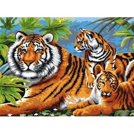 Prima mea pictura pe nr junior mare Tigri 32x40 cm