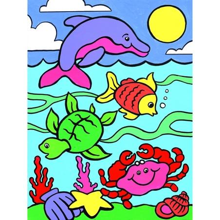 Prima mea pictura pe nr junior Animale marine 23x30 cm