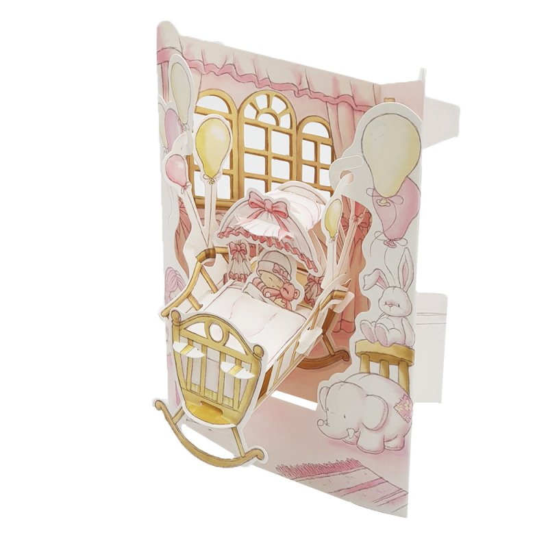 Felicitare 3D Swing Cards - Fetita in leagan profil