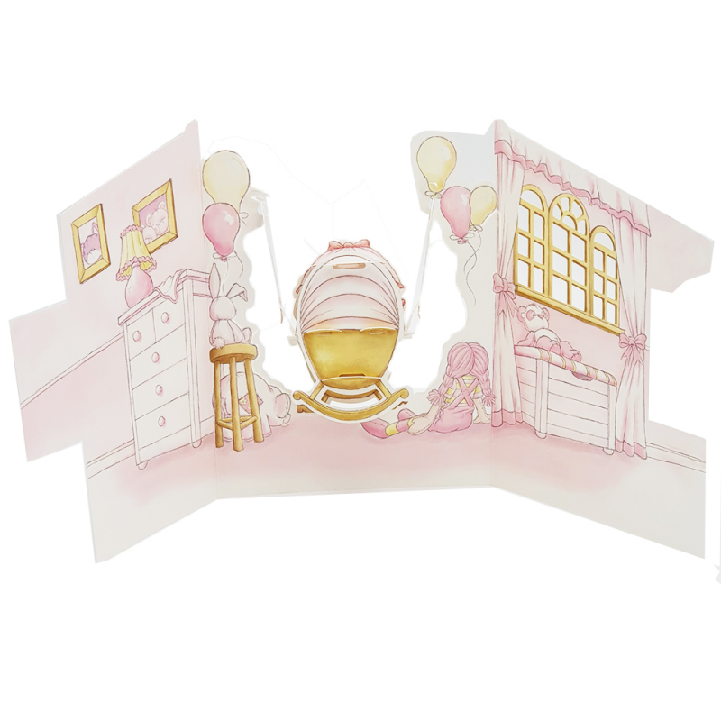 Felicitare 3D Swing Cards - Fetita in leagan spate