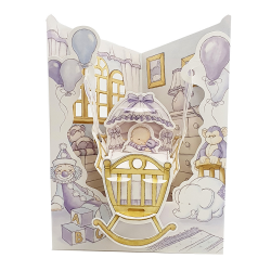 Felicitare 3D Swing Cards - Baietel in leagan
