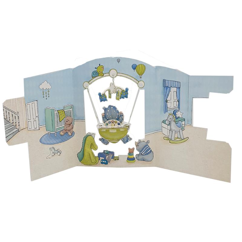 Felicitare 3D Swing Cards – Baietel in balansoar perspectiva