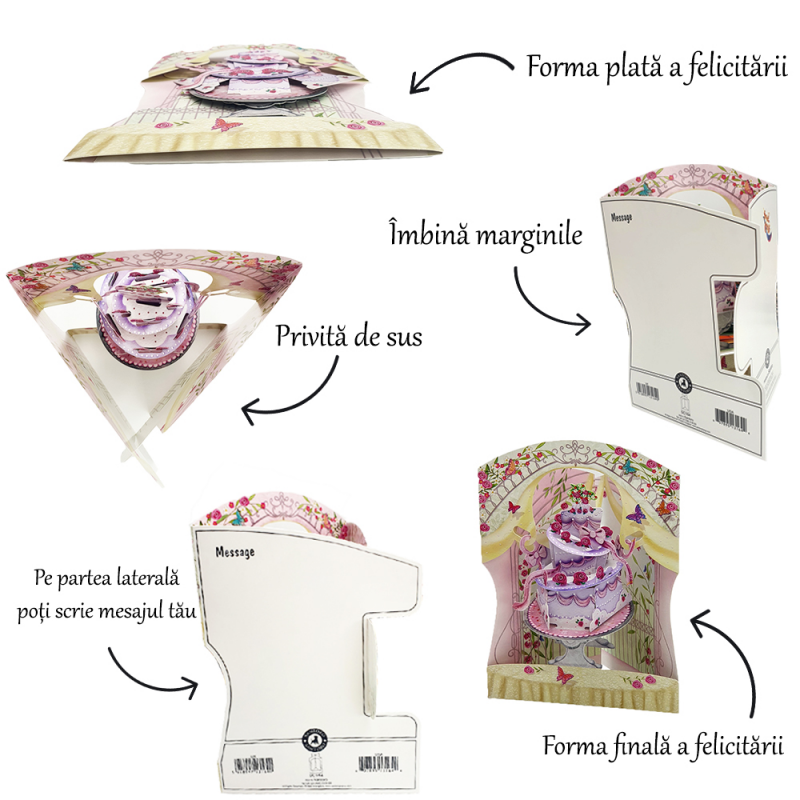 Felicitare 3D Swing Cards - Fetita in leagan instructiuni