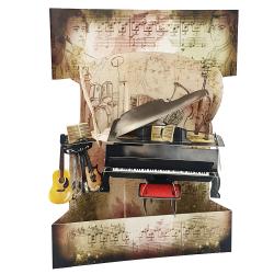 Felicitare 3D Swing Cards dinamica - Pian si muzica
