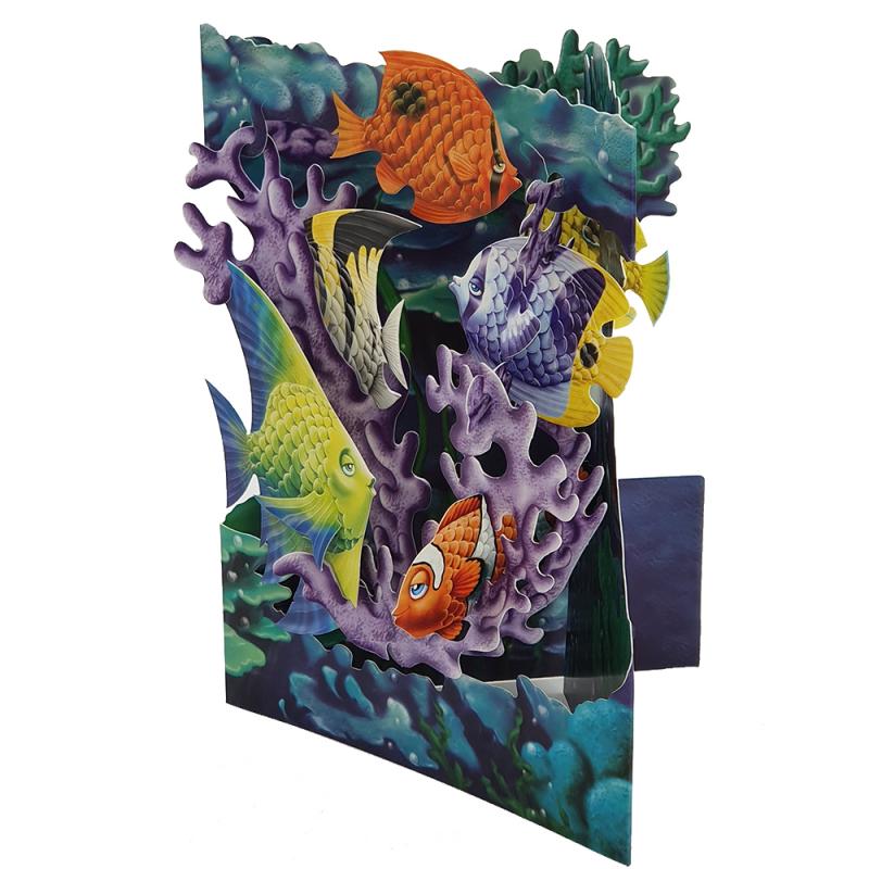 Felicitare 3D Swing Cards - Viata marina elemente mobile