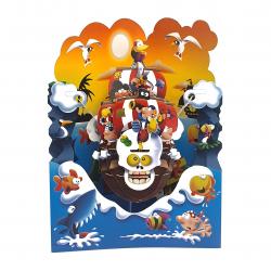 Felicitare 3D Swing Cards - Corabie de piratii