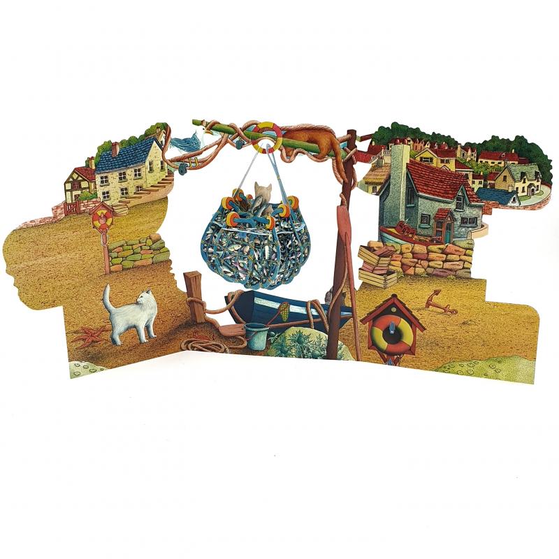 Felicitare 3D Swing Cards - Pisici in navod perspectiva