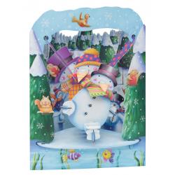 Felicitare de iarna 3D Swing Cards - Om de zapada