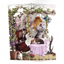 Felicitare 3D Swing Cards - Pisici in sera