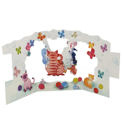 Felicitare 3D Swing Cards - Pisici jucause perspectiva