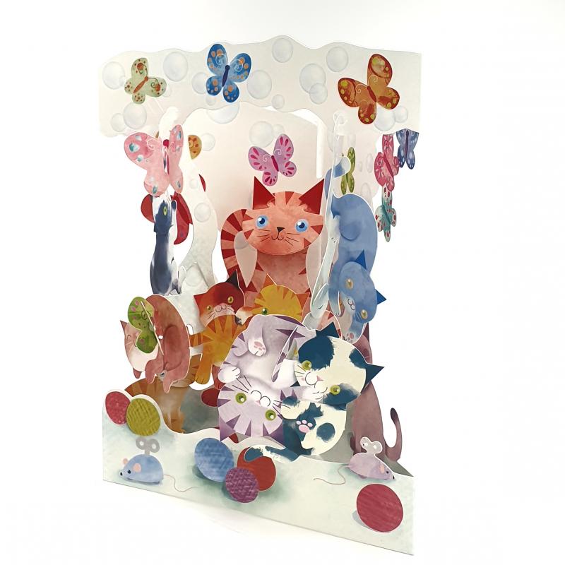 Felicitare 3D Swing Cards - Pisici jucause elemente mobile