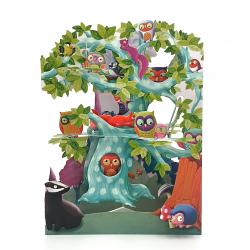 Felicitare 3D Swing Cards - Arborele pasarilor din padure