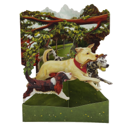 Felicitare 3D Swing Cards - Caini in parc