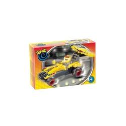 Seturi de construit-Masina de curse galbena-40 piese compatibile integral si cu piesele produse de alte marci de calitate