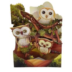 Felicitare 3D Swing Cards - Bufnite