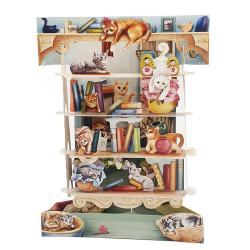 Felicitare 3D Swing Cards  - Pisici in biblioteca