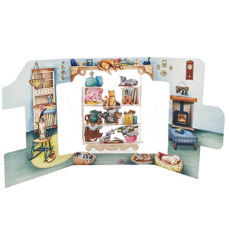 Felicitare 3D Swing Cards  - Pisici in biblioteca perspectiva