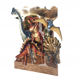 Felicitare 3D Swing Cards - Dinozauri elemente mobile