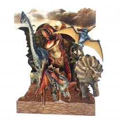 Felicitare 3D Swing Cards - Dinozauri