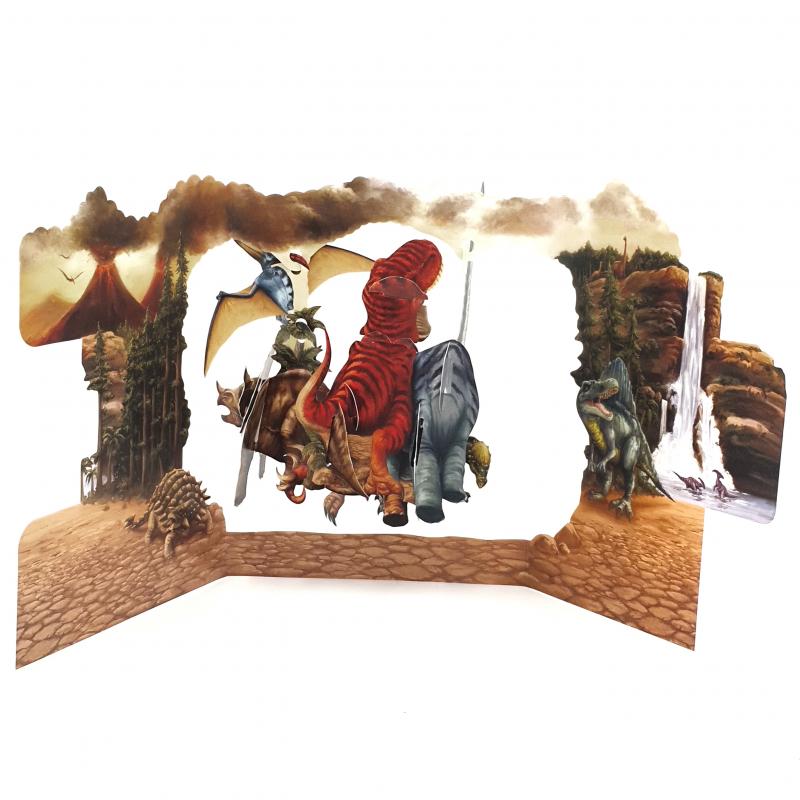 Felicitare 3D Swing Cards - Dinozauri perspectiva