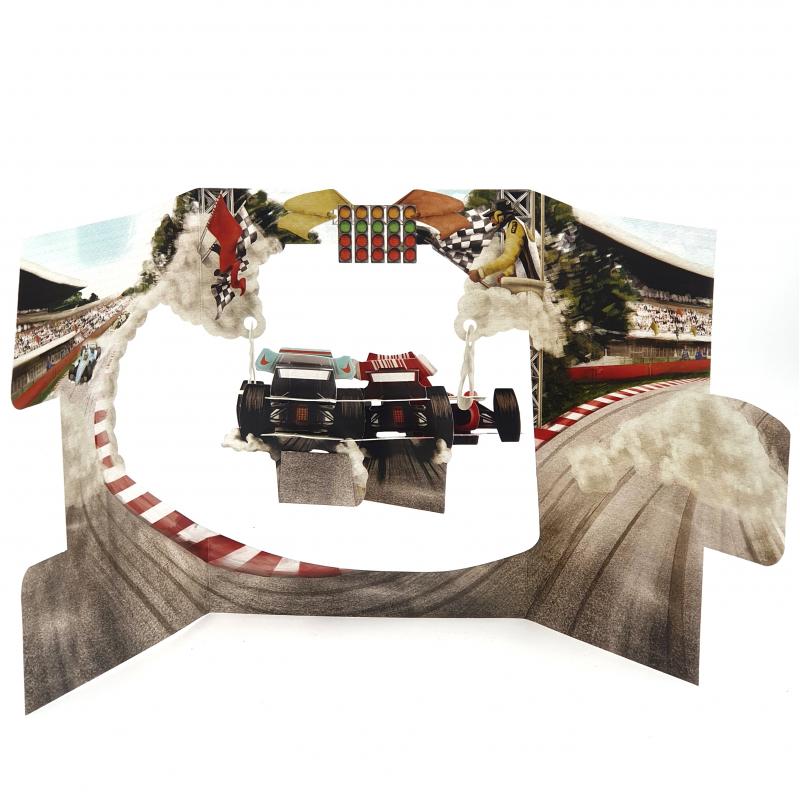 Felicitare 3D Swing Cards – Masini de curse perspectiva