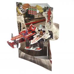 Felicitare 3D Swing Cards – Masini de curse elemente mobile