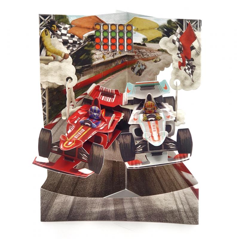 Felicitare 3D Swing Cards – Masini de curse