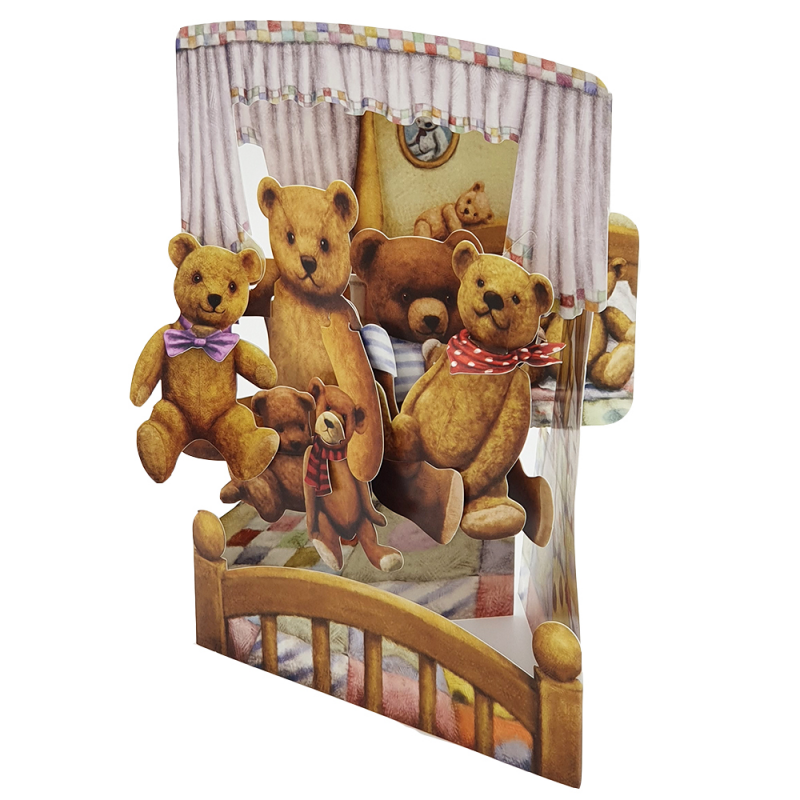 Felicitare 3D Swing Cards - Ursuleti de plus elemente mobile