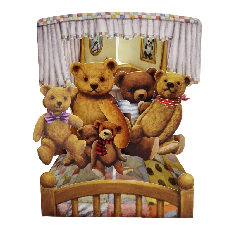 Felicitare 3D Swing Cards - Ursuleti de plus