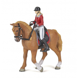Figurina Papo tandem cal si calareata in jacheta rosie