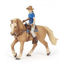 Cowgirl and horse - vacarita si cal figurine Papo pentru copii