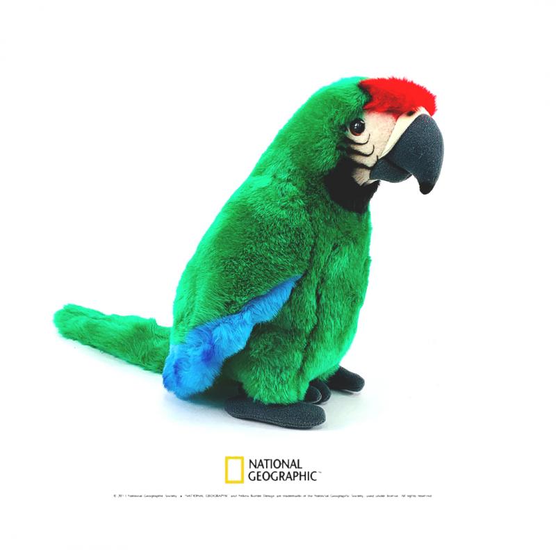 Jucarie din plus National Geographic Papagal Ara Macao 26cm-verde