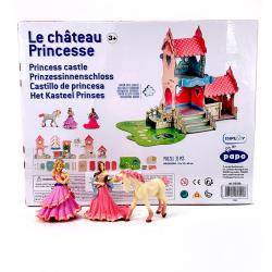 Jucarie de rol fete Castel cu trei frigurine incluse doua printese si un calut