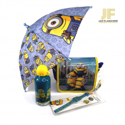 Pachet de vacanta Minions, ceas de mana, umbrela, sticla apa, geanta